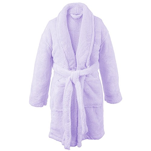 BC BARE COTTON Kids Microfiber Fleece Shawl Robe - Girls - Lavender - Large