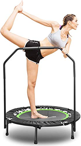ANCHEER Fitness Exercise Trampoline with Handle Bar, 40' Foldable Rebounder Cardio Workout Training for Adults or Kids (Max. Load 300lbs, Zero Stretch Jump Mat) (Green)