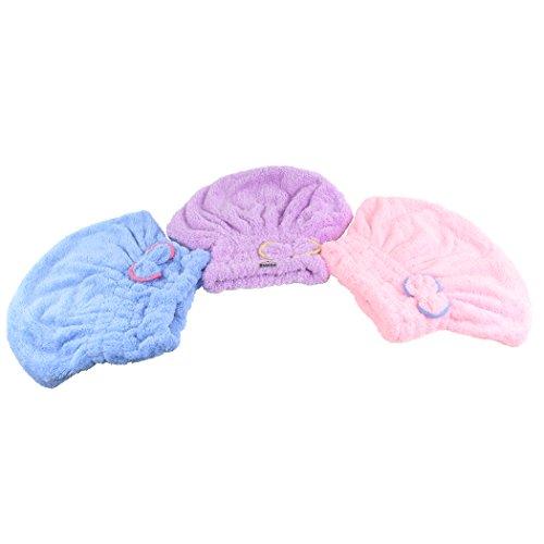 Dianoo 3PCS chapeau de cheveux secs, femmes mignonne bouchon de cheveux secs, mignonne bowknot ultra absorbant douche bain bouchon spa, cheveux séchage bouchon wrap, 3PCS (couleurs aléatoires)
