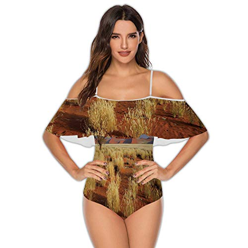 Desert Landscape with Grasses,Women's One Piece Swimsuit Bathing Suits red d Dunes and an African Acacia Tree S