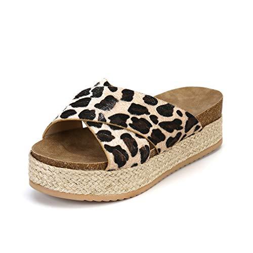 Damen Sandalen Zehentrenner Plateau Sommer Knöchel Schnalle Sommerschuhe Peep Toe Pantoletten Casual Elegant Schuhe Leopard 42