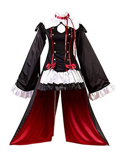 Ya-cos Fantasia de cosplay para Halloween e vampiros Krul Tepes, Preto, Large
