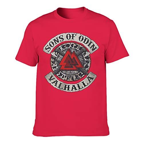 Langlebig Herren T-Shirt Wikinger Valknut Achsen Skandinavisch Runen Söhne von Odin Walhalla Druck Abstrakt Bluse red l