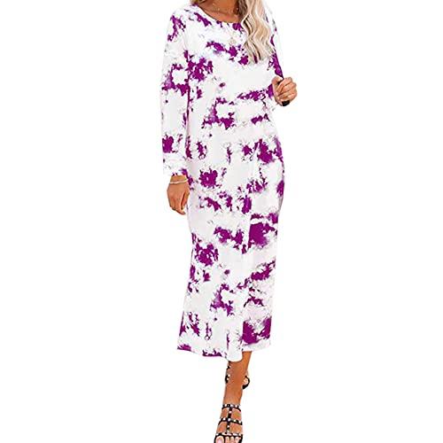 KeYIlowys Herbstmode beiläufiger Rundhalsausschnitt gefärbtes reizvolles langärmeliges Kleid-Frauen