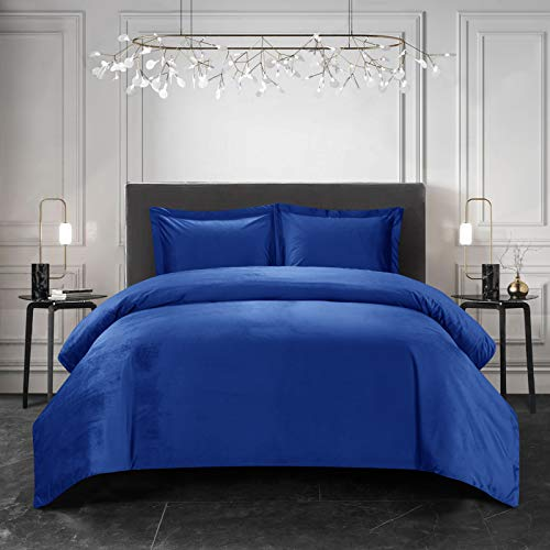 LoyoLady Velvet Duvet Cover Queen Size, Royal Blue Plush Shaggy Duvet Cover 3 Pieces Set, Flannel Duvet Cover Set(1 Duvet Cover + 2 Pillow Shams)