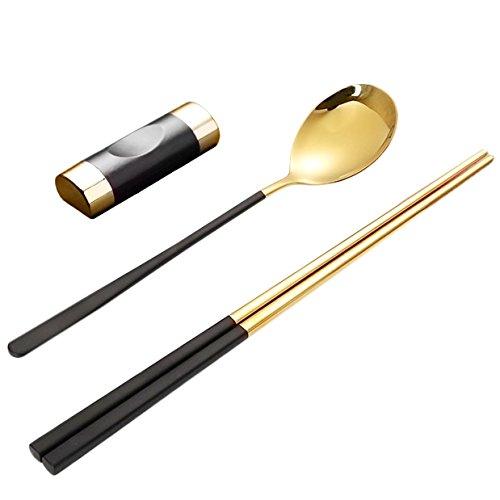 Youda Acero Inoxidable Palillos Cucharas y Titulares de Palillos, Paquete de Regalo de Cubiertos - Oro Negro