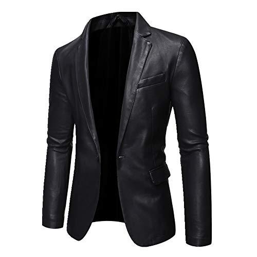 NOBRAND Herren Lederjacke Motorrad Lederjacke Handsome Suit Ledermantel Gr. XXX-Large, Schwarz