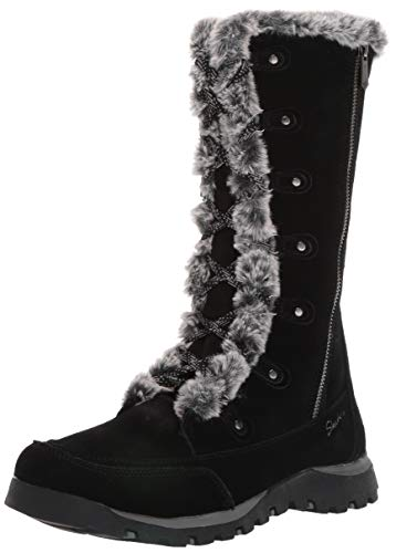 Skechers Women's Grand JAMS-Tall Lace Up Boot with Fur Trim and Warm Tech Memory Foam Mid Calf, Black, 8.5 M US