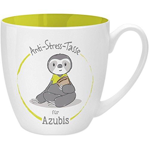 Gruss & Co 45485 Anti-Stress Tasse für Azubis, 45 cl, Geschenk, New Bone China, Gelb, 9.5 cm