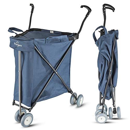 Freshore® 車輪付きのスーパーでは、折り畳んだ折り畳み実用車の手押し車の手押し車には、車と重型の航空母方の柔軟なデザイン(濃い青色)がある