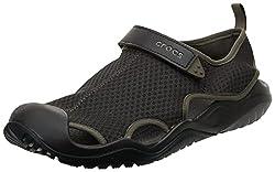 in budget affordable Crocs Men's Swift Water Mesh Deck Sports Espresso Sandals 9 Months USA