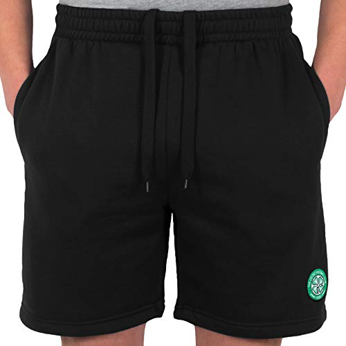 Celtic FC Official Football Gift Mens Fleece Jogger Shorts Black Large