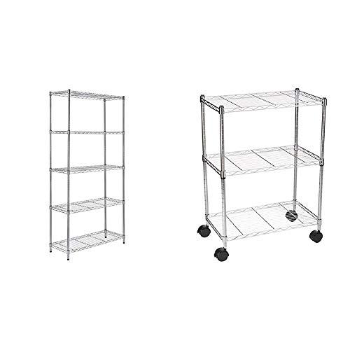 AmazonBasics Lagerregal mit 5 Regalböden, bis 160 kg pro Regalboden, Chrom & Regal mit Rollen und 3 Regalböden - Chrom