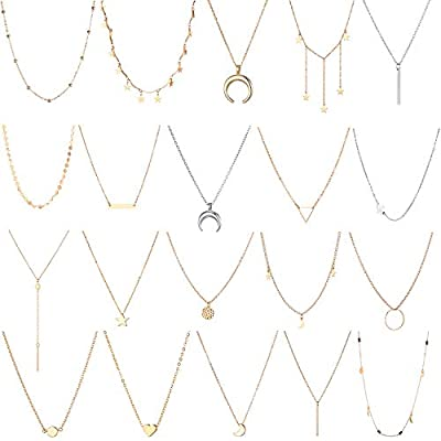 20 PCS Multiple DIY Layered Choker Necklace for Women with Sexy Coin Moon Star Multilayer Choker Chain Y Necklaces Set Adjustable Gold Silver Bar Pendant Y Necklace for Teens Girls Women (20 PCS)