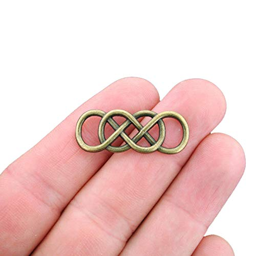 6 Celtic Knot Connector Charms Antique Bronze Tone Double Infinity - BC956