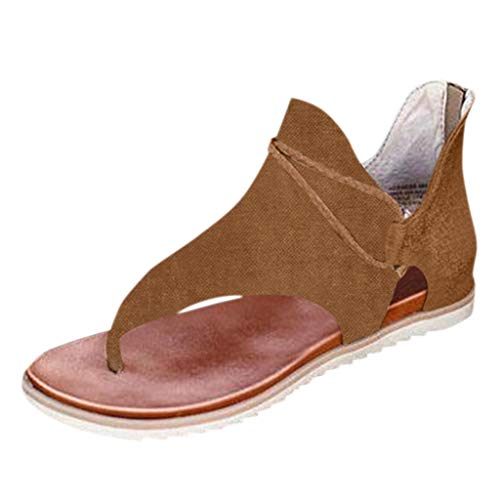Damen Sandalen Casual Posh Vintage Leopard Flip Flop, Sommer Flache Open Toe PU Leder Strandsandalen, Bequeme Sandalen Reißverschluss Schuhe