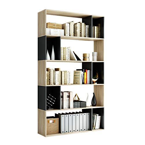 Homfa Estantería Librería Estante para Libros Estantería de Madera para Oficina Salón Estudio Dormitorio con 5 Niveles Roble y Negro 190x107x30cm