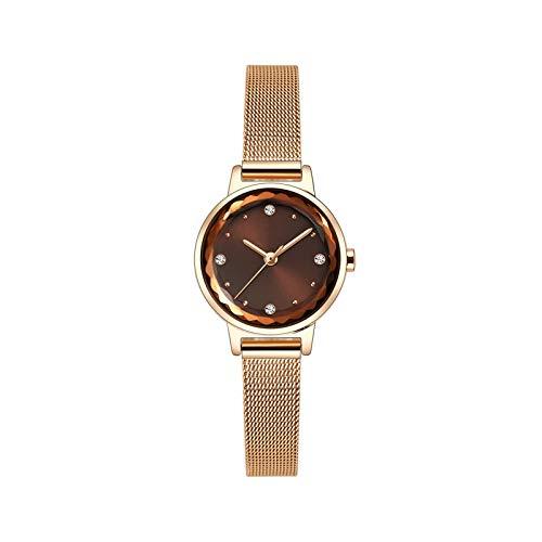 QHG Reloj de Mujer Lady Watches Moda Muñeca Reloj Chicas Reloj Femenino Vestido Cuarzo Movimiento Rhinestone Pequeño Dial (Color : A)