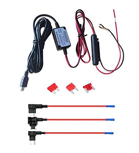 Car Camera Hard Wire Kit- Mini USB Dash Cam 10 Foot Hardwire 12V to 5V and Fuse Kit for Dash Camera Power Supply Car Charger GPS Car DVR Power Box