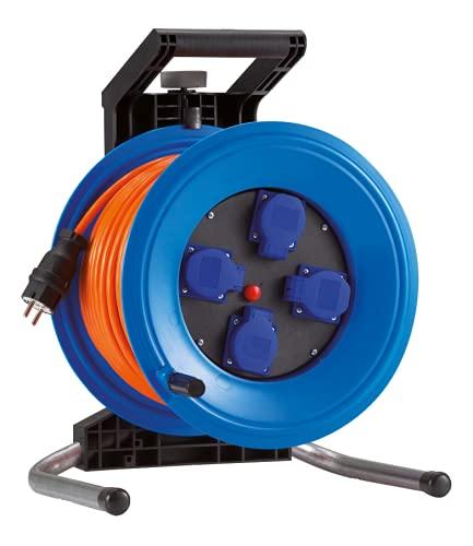 HEDI Carrete de cable 40 m Professional Plus 320 (cable blindado H07BQ-F 3G1,5, enrollador de cable de alimentación con 4 tomas de corriente, para uso en exteriores) K340QTFE, multicolor