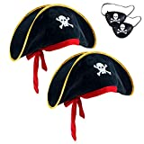 2 Pieces Pirate Hat Skull Print Pirate Captain Costume Cap - Pirate Accessories Funny Party Hat for Caribbean Fancy Dress with Eye Patch