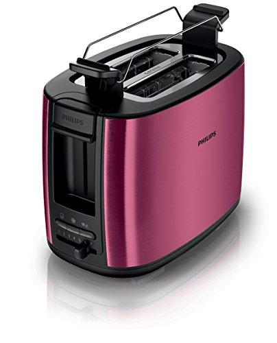 Philips HD2628/09 Zwei -Schlitz Toaster Auftau und Aufwärmfunktion, inklusiv Brötchenaufsatz, 950 W burgunderrot