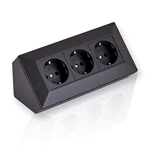 Enchufe de esquina de montaje 3 x Schuko negro, para cocina, oficina, taller. Regleta de 3 enchufes ideal para encimeras de cocina, enchufes o enchufes empotrados.
