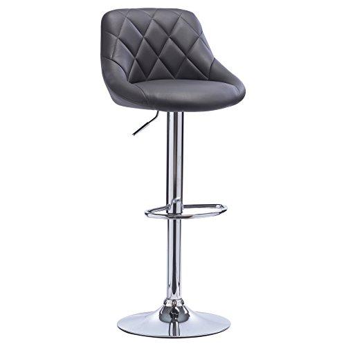 WOLTU BH23gr-1 1er Barhocker Barstuhl, leichte reinige Kunstleder, Gute gepolsterte Sitzfläche, Höhenverstellbar, 360° Drehbar, Farbwahl, in Grau