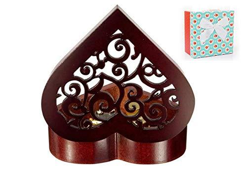 Cuzit - Caja de música de madera con forma de corazón, regalo para N