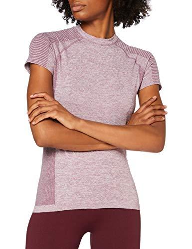Marca Amazon - AURIQUE Camiseta Deportiva sin Costuras Mujer, Morado (morada Gumdrop Marl), 44, Label:XL