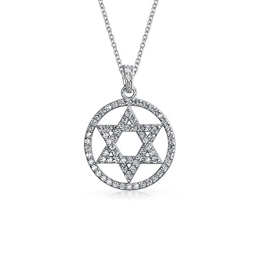 Cubic Zirconia CZ Accent Pave Religious Magen Judaic Jewish Hanukkah Star Of David Disc Circle Pendant Necklace For Women Teen Bat Mitzvah 925 Sterling Silver