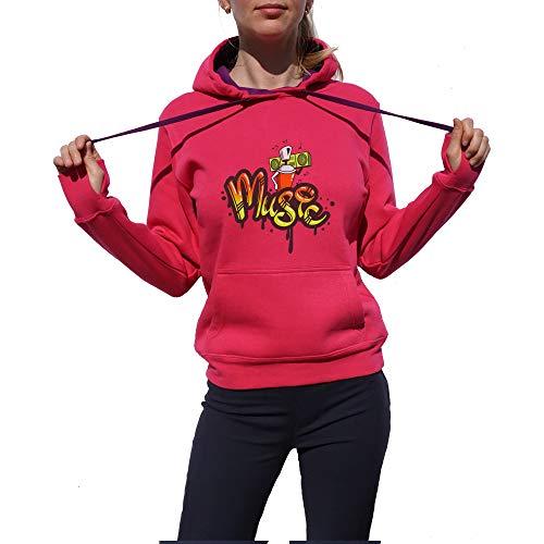 Wild Soul Tees, Pullover Hoodie, Graffiti Art | Musique | Graphisme | Logo | Vêtements | Ligne de vêtements - Rose - Large