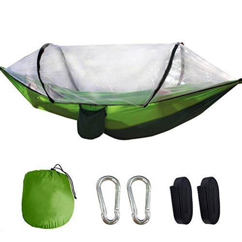 HERAHQ Camping Hammock with Automatic Open Mosquito/Bug Stand Net, Portable 2 Person Tent Swing Bed, for Backpacking Travel Beach Backyard Patio Hiking,Green
