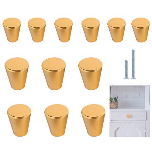 Tiradores Muebles Dorado,Qiundar 12 Piezas Perilla del Cajón Pomo Armario Cocina Furniture Knobs,para Puertas de Armario Baño Sala