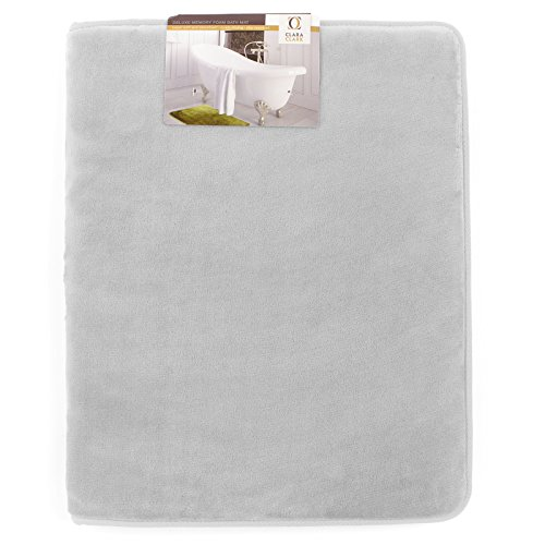 Memory Foam Bathrug - Light Gray, Bath Mat and Shower Rug Large 20 x 32 Inches, Non Slip Latex Free Plush Microfiber. Comfortable, Beautiful and Maximum Absorbency.