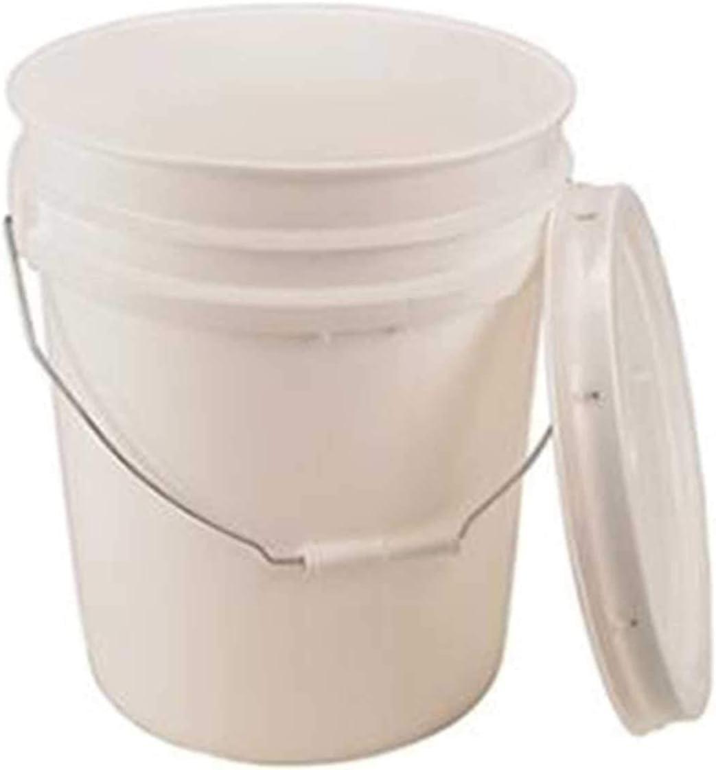 5 Gallon White Bucket  Lid - Durable 90 Mil All Purpose Pail -