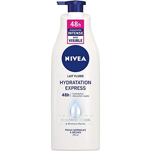 NIVEA Lait Fluide Hydratation Express 48h, Soin corporel pour peaux normales à sèches, Lait corporel enrichi en concentré de soin NIVEA & en Minéraux Marins, 250 ml