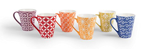 Excelsa Etnika Set 6 Tazze Mug, Porcellana, Multicolore