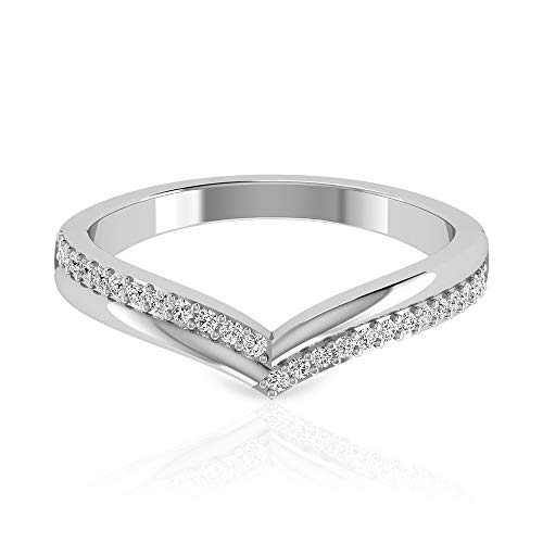 0.18 carat pavé IGI Certifié Diamant Chevron Bague empilable, demi-éternité en forme de V, bague danniversaire, promesse de mariage assortie, 14K or blanc, Size:EU 52