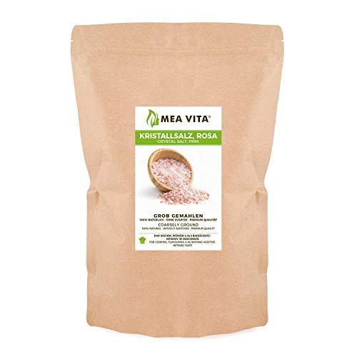 MeaVita Kristallsalz, bekannt als Himalaya Salz - grobe Körnung 2-5 mm, 1er Pack (1x 1000g) im Beutel