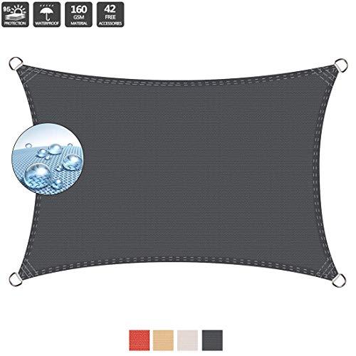 baratos y buenos Toldo de vela de tejido de 5,5 x 7,5 m, 95% de protección UV, toldo IKEA … calidad