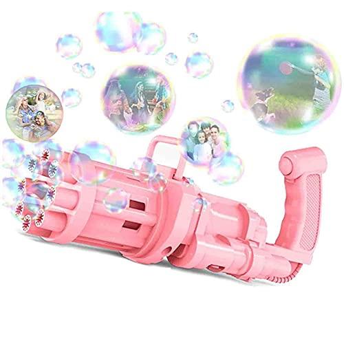 Writtian Seifenblasenpistole Kinder Gatling Bubble Machine Seifenblasen Pistole Nachfüllflasche 2021 mit Licht und Musik 9 Loch Bubble Maker Maschine Elektrische Bubble Gun Spielzeug für Kleinkind