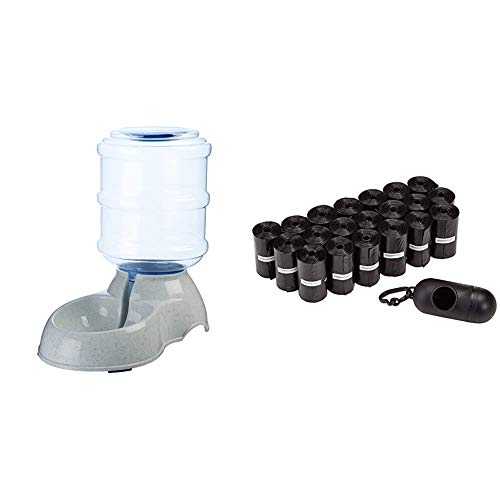 Amazon Basics Dispensador de Agua, Pequeño + Bolsas para excrementos de Perro con dispensador y Clip para Correa (300 Bolsas)