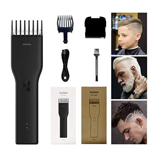WEKEEPEnchen - Juego de cortadores de pelo, guía de ajuste de un botón, recortador de pelo, cortapelos sin cable, carga USB, cortapelos para hombre, , , Negro,, ]