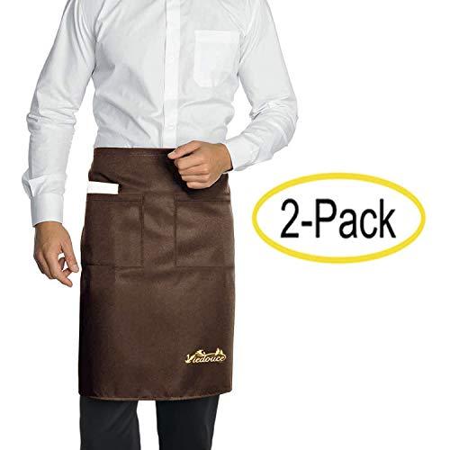Viedouce 2 Packs Grembiuli,Vita Corta Grembiule da Cucina Impermeabile con 2 Tasche per Server Ristorante Chef Cameriera Cameriere Mixologo Fiorista Mezza,Grembiule per Uomo Donna (Marrone)