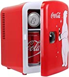 Coca-Cola Mini Fridge/Cooler and Warmer, 4 Liter/6 Can Capacity, Thermoelectric Portable Cooler, 12V DC/110V AC Plugs Included - Great for Home, Skincare, Cosmetics, Medication, ETL Listed
