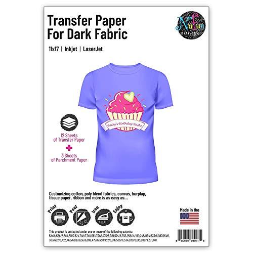 NuFun Activities Inkjet Printable Iron-On Heat TShirt Transfer Paper 11x17 (12, Dark Fabrics)