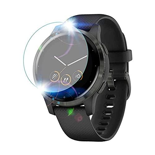 qiaohuan shop Protector de pantalla para Garmin Vivoactive 4s, [Dureza 9H] [Anti-huellas, [Sin burbujas] Película protectora de pantalla de vidrio templado para Garmin Vivoactive 4s Smart Watch