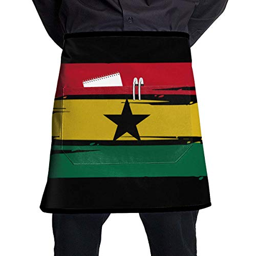 yuiytuo Tablier pour Barbecue Mens and Womens Ghana Flag Adjustable Neck Bib Aprons with Front Pocket