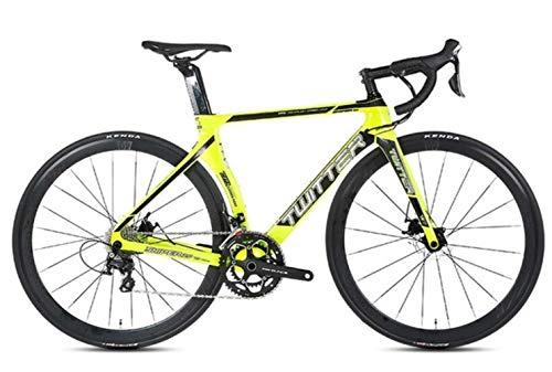 GUIO 2.0 Carbon Rennrad 700C Fahrrad 16/22 Speed Rennrad für hydraulische Scheibenbremse, gelb, 48cm 16Speed